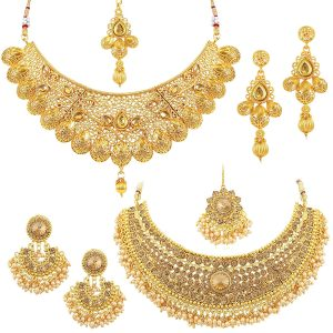 Sukkhi Glamorous LCT Gold Plated Wedding Jewellery Pearl Choker Necklace Set Combo For Women